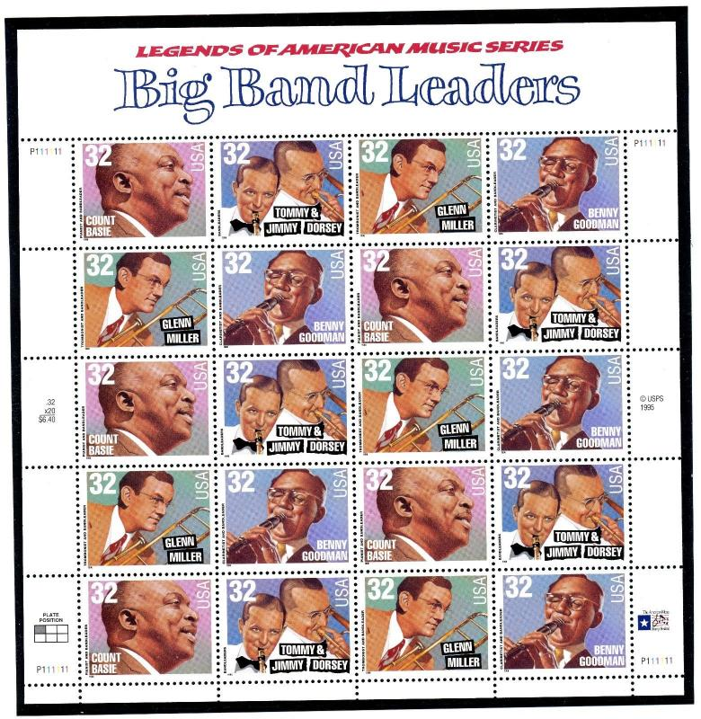 US  3096-99  Big Band Leaders 32c -.Pane of 20 -  MNH - 1996 - P111111  UL