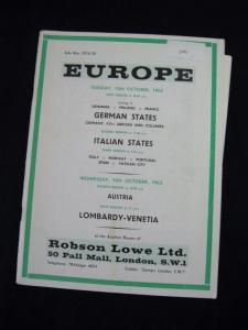 ROBSON LOWE AUCTION CATALOGUE 1963 EUROPE with GERMANY POs ABROAD ITALY AUSTRIA