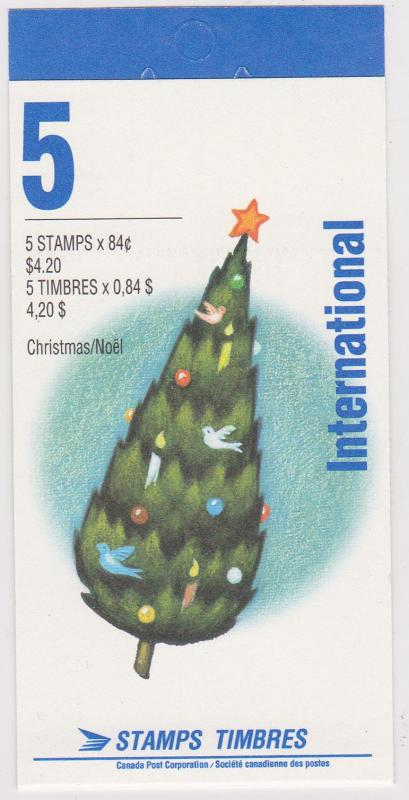 Canada #BK152b 1992 Christmas 84c Pane of Five in Open Cover Booklet - VF=NH