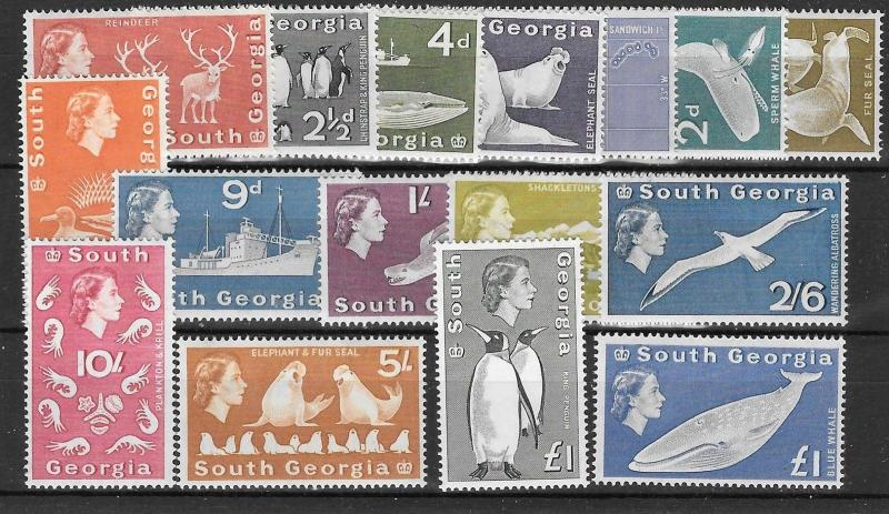 SOUTH GEORGIA SG1/16 1963 DEFINITIVES  MNH