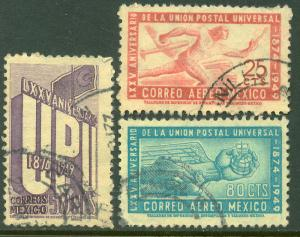 MEXICO 872,C203-04, 75th Anniv of UPU. Cplt. set. Used (637)