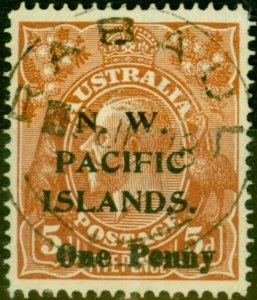 New Guinea 1918 1d on 5d Brown SG100 V.F.U