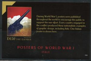 NEVER BEFORE OFFERED GAMBIA  2015 WORLD WAR I ITALIAN  POSTERS  S/S   IMPERF NH
