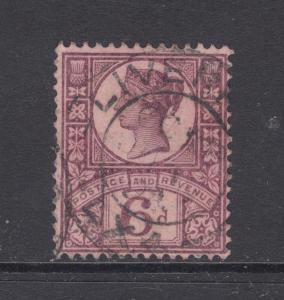 Great Britain Sc 119 used 1887 6p violet on rose QV