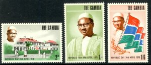 GAMBIA 1970 REPUBLIC DAY Set Sc 247-249 MLH