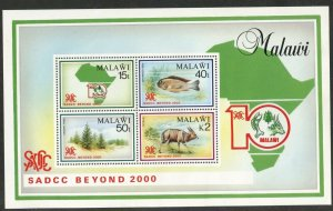 MALAWI Sc#573a 1990 SADCC Anniversary Nature Souvenir Sheet OG Mint Hinged