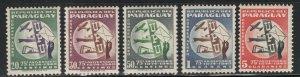 Paraguay 1950 75th UPU Anniversary set Sc# C179-83 NH