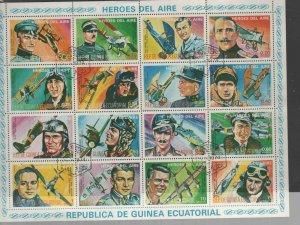 EQUATORIAL GUINEA   1974  HEROES OF AVIATION  MINT  VF NH O.G  SHEET CTO  (EQ17)