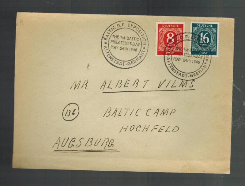 1946 Augsburg Germany Displaced Person Camp Cover DP Baltic Stamp Show