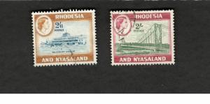 Rhodesia & Nyasaland SC #167-68 SALISBURY AIRPORT  CHIRUNDU BRIDGE Θ used stamps