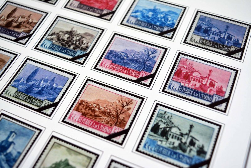 COLOR PRINTED SAN MARINO 1941-1965 STAMP ALBUM PAGES (40 illustrated pages)