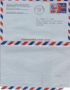United States 1963 13c Aerogramme Manhattan Kansas-Slough UK used VGC