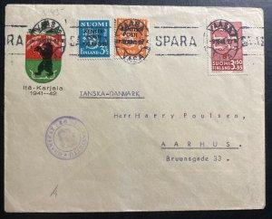 1943 Vasa  Finland Kenttapost censored Cover To Aarhus Denmark