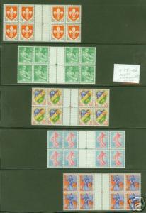 FRANCE Scott 938-42 CV $88 gutter blocks of 8, 1960 MNH