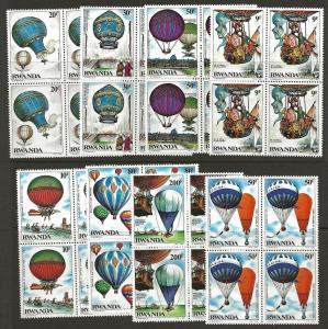 Rwanda 1984 Ballon Flight Transportation BLOCKS Set #1183-1190 VF-NH CV $52.00