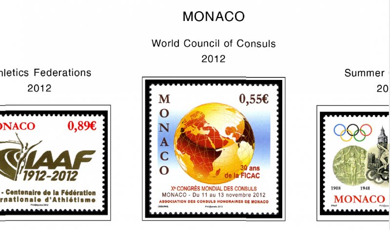 COLOR PRINTED MONACO 2011-2018 STAMP ALBUM PAGES (51 illustrated pages)