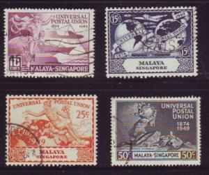 Singapore Sc 23-26 1949 75th Anniversary UPU stamp set used