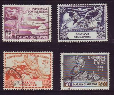 Singapore Sc 23-26 1949 75th Anniversary UPU stamp set used