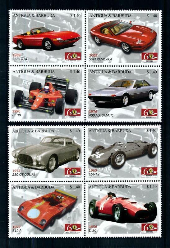 [100248] Antigua & Barbuda 2007 Classic Cars Ferrari  MNH