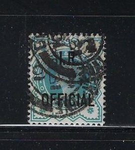 GREAT BRITAIN SCOTT #O16 1901 I.R. OFFICIAL 1/2P  (BLUE GREEN) - USED