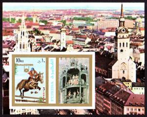 Fujeira Mi Block 109B (#1060) mnh - 1972 Olympics - Munich Rathaus Glockenspiel