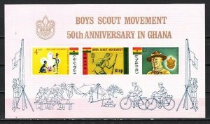 Ghana, Scott cat. 310a. 50th Anniversary of Ghana Scouts s/sheet.