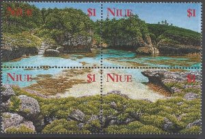 Niue #701 MNH block of 4, island scenes, issued 2000
