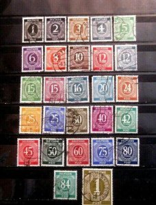 Germany Sc #530-556 A Complete Set oF Numerals 1946 - Used F-VF