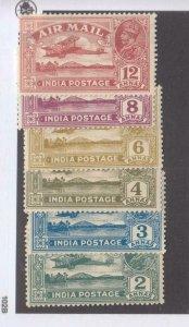 INDIA # C1-C6 VF-MH AIRMAILS CAT VALUE $34.65