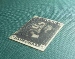 Penny Black, 1840, SG2, 4 Wide Margins, K and K Slight crease, (See photos).