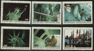 CENTRAL AFRICA Sc#928a-f 1989 Statue of Liberty Complete Set OG Mint NH