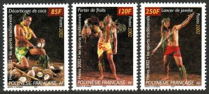 French Polynesia 829-831, MNH. Traditional Sports, 2002