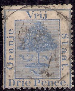 Orange Free State South Africa 1883 - 84 QV 3d Blue used SG 51 clipped side (...