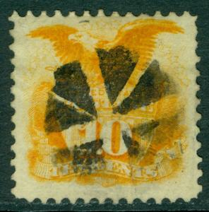 USA : 1869. Scott #116 VF, Used with neat Radial Cork cancel. PSAG Cert Cat $140