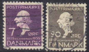 DENMARK SCOTT# 247+250 *USED* 7+20o 1935  SEE SCAN