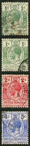 British Honduras SG111/3 1915 Opt Set of 3 (and 1d Yellow Green) Fine used