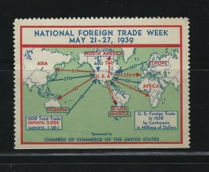 UNITED STATES - 1939 NATIONAL FOREIGN TRADE WEEK POSTER STAMP MNH