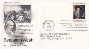 1975, Honoring Benjamin West, Art Craft, FDC (E12288)