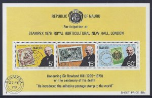 NAURU  Sc#197A Stamps on stamps, Rowland Hill S/S (1979) MNH