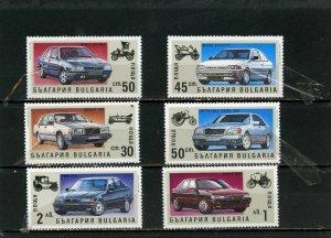 BULGARIA 1992 Sc#3674-3679 CARS SET OF 6 STAMPS MNH
