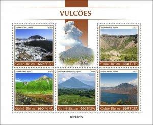 Guinea-Bissau - 2021 Japanese Volcanoes - 5 Stamp Sheet - GB210212a