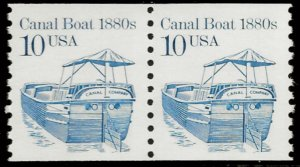 Sc 2257 10¢ Canal Boat Coil Pair, MNH
