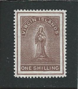 BRITISH VIRGIN IS 1887-89 1s BROWN MM SG 41 CAT £45