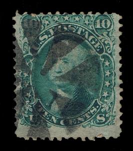 AFFORDABLE GENUINE SCOTT #96 USED VERIFIED CLEAR F-GRILL 1868 10¢ GREEN SCV $225