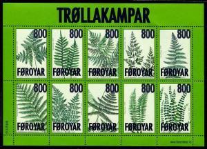 HERRICKSTAMP FAROE ISLANDS Sc.# 505 Ferns Sheetlet of 10 Stamps