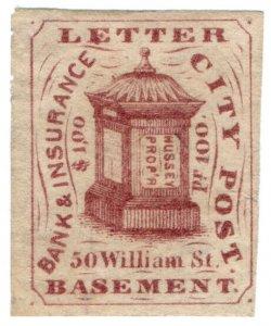 (I.B) US Local Post : Hussey's City Post 1c