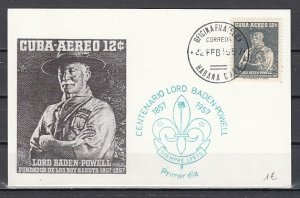 Cuba, Scott cat. C152. Scout Baden Powell value. First day card. ^