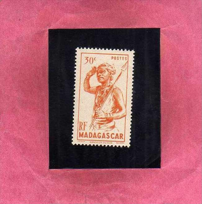 MADAGASCAR MALGACHE 1946 DANSEUR DU SUD DANCER SOUTH DANZATORE CENT. 30 MNH