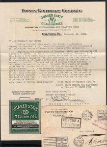 Oil City, PA 1922 QUAKER STATE OIL Letter CHILE
