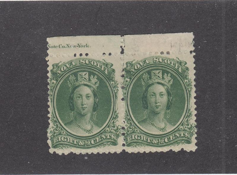 NOVA SCOTIA  # 11 FVF-MH 81/2cts W SEPARATION QV GREEN PAIR CAT VALUE $40